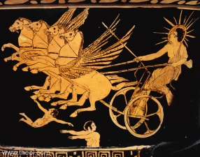 Helius the Sun - detail on a red figure style crater-vase